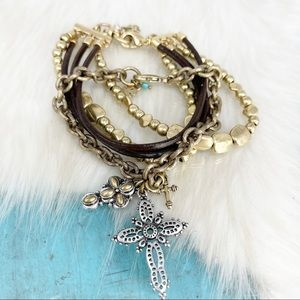 Lucky Brand SET OF 2 Two Tone Cross Bead Bracelets